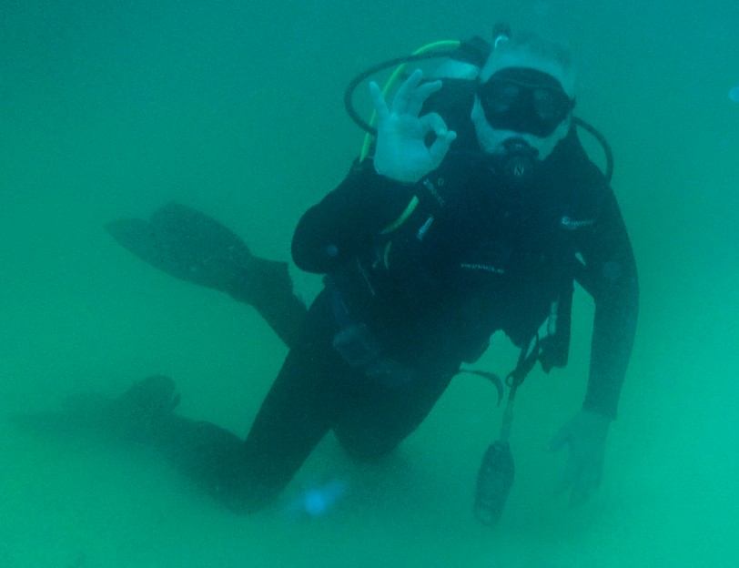 My Dad giving the underwater salute! He is getting close to 70 and still diving!