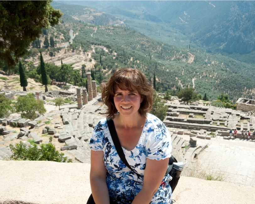 Taking a brief breather while in Delphi, Greece.  So much history here.  You can feel the ancient roots.