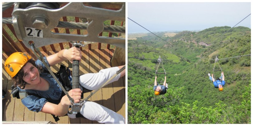 Me ziplining with family in Hawaii