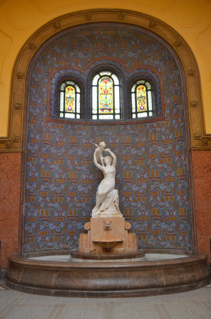 Turkish influence in Gellért Spa.  Budapest is known for its natural springs and Turkish baths.