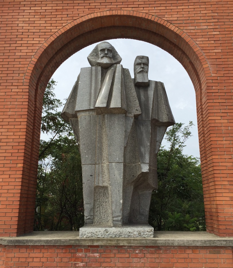 Marx and Engels in slightly cubist style, Memento Park (where all the Soviet art went to rest).